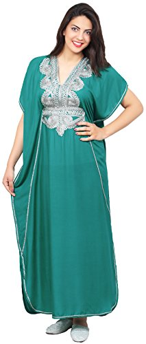 Moroccan-Caftan-Handmade-Cotton-Silver-Hand-Embroidery-Fits-Small-To-Large-Soft-Teal