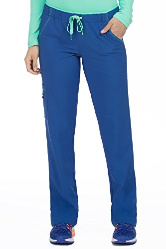 (Med Couture Women's 'Activate' Color Block Scrub Pant, Galaxy/Sea Crystal, X-Large)