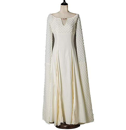 (Xfang Women's Chiffon dress Halloween Cosplay Costume Beige Long Train Dress)