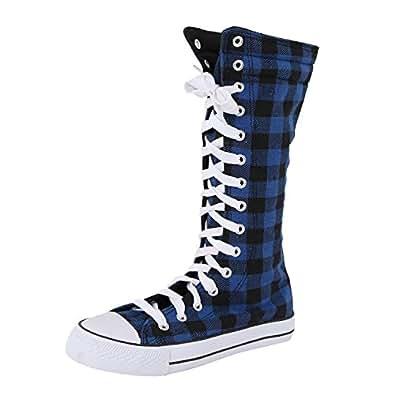 West Blvd 501-W Sneaker Boots (7 M, Blue Plaid)