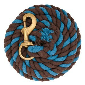 Weaver Turquoise and Chocolate Brown 10' Cotton Lead Rope Brass Snap Horse Tack