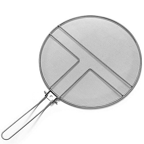 (13 inch Grease Splatter Guard by Centh Skillet Stainless Steel Splatter Screen for Frying Pan Folding Handle for Cooking or Cast Iron with Mesh Grease Pan Cover-Heavy Duty Round Frying Pan (13 inch))