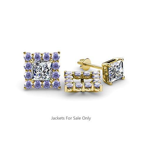 Tanzanite Halo Jacket for Princess Cut Stud Earrings 0.67 cttw in 14K Yellow (Princess Cut Tanzanite Earring)