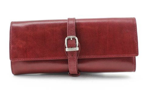 PERSONALIZED NAME INITIALS CUSTOM ENGRAVING Tony Perotti Womens Italian Bull Leather Grande Jewelry Roll Travel Organizer in Red