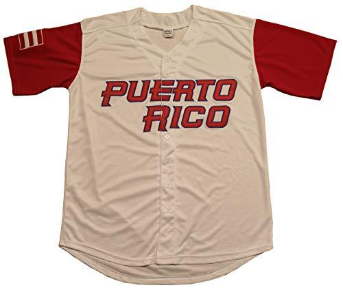 Kooy Mexico Puerto Rico Colombia Italy Cuba Venezuela World Classic Baseball Jersey Men Adult (Puertorico_White, Large) ()