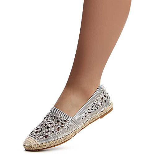 Damen Espadrilles Slipper Loafer 1190 Silber