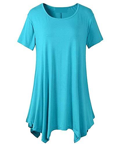 Casual Costume Blau Chic 1 Haut Col Baggy Manches Unicolore Elgante Chemise O Courtes Oversize Femme Et Tee Shirt Mode Tunique Longue H1TtnxCW