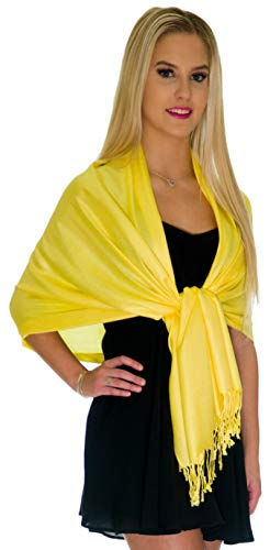 Wraps - Large Scarfs for Women - Party Bridal Long Fashion Shawl Wrap with Fringe by Petal Rose (Vibrant Yellow) ()