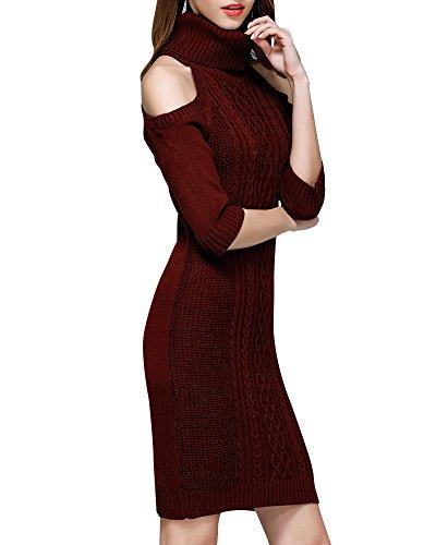 Abito Colletto Del Dress Vestitini Bodeaux Maglione Lunga Vestito Mini Manica Alta Casual Eleganti Donna Pxv8f
