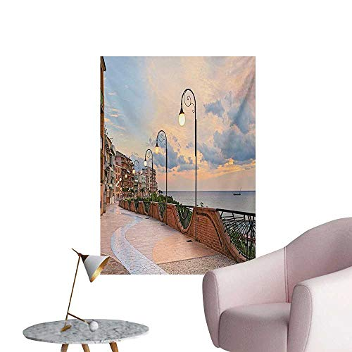(Anzhutwelve Italian Wallpaper Dawn at Ortona Abruzzo Italy Terrace View on The Adriatic Sea PrintPale Caramel and White W20 xL28 Wall Poster)