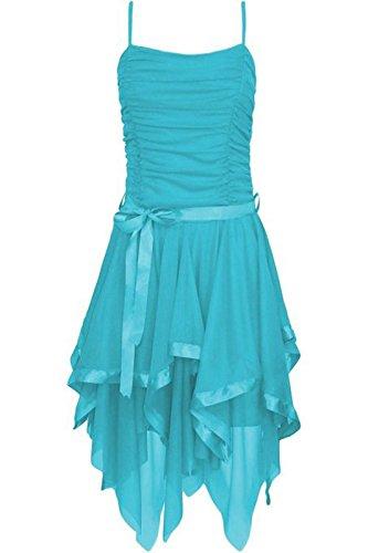 soie M mousseline dames de Strappy asymtrique soire M robe S de marie Turquoise de Islander Fashions Prom robe L en Womens qnSFUX