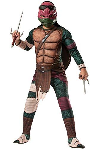 Rubie's Costume Men's Teenage Mutant Ninja Turtles Movie Deluxe Adult Muscle Chest Raphael, Multicolor, (Ninja Turtle Character Costumes)
