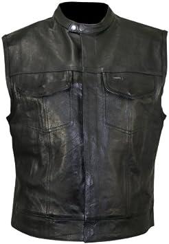 S Gilet da motociclista senza colletto in denim pesante con finiture in pelle da uomo con tasche profonde Leatherick SOA stile