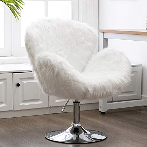 Kmax Faux Fur Accent Chair, Height Adjustable Plush Vanity Stool for Bedroom, Shaggy Dog Shell Chair for Dorm/Living Room, White