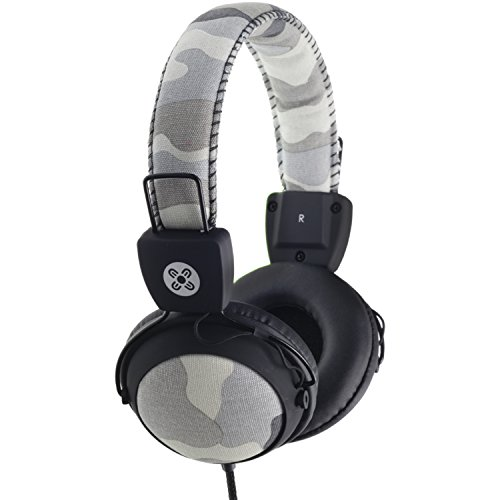 Moki ACCHPCAMGY Camo Headphones with in-Line Mic and Control, Gray by Moki International