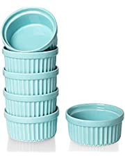 ONTUBE Ramekins - Porcelain Ramekins for Creme Brulee Dishes,Dipping Sauces,Baking Pudding Cups, Souffle Bowl, Set of 6
