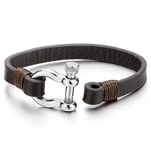 Mens Womens Steel Screw Anchor Shackles Wrap Bracelet with Brown Leather, Nautical Sailor Wristband Photo #3