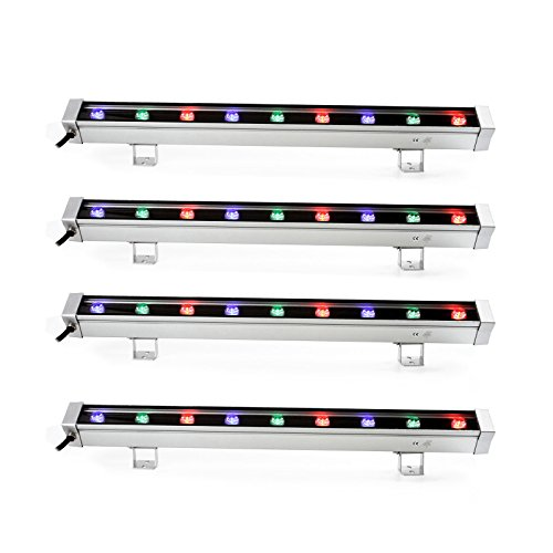 TSSS 9W RGB LED Wall Wash  Bar Light Waterproof Aluminum Alloy DJ Stage Background Lighting for Outdoor Party,Wedding, Restaurant, Venues, Hotel,Stadium(4 Pack)