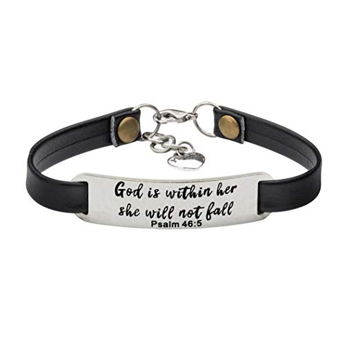 UNQJRY Graduational Gifts for Her Bangle Bracelets for Women Inspirational Christmas Jewelry God is Within her, she Will not Fall