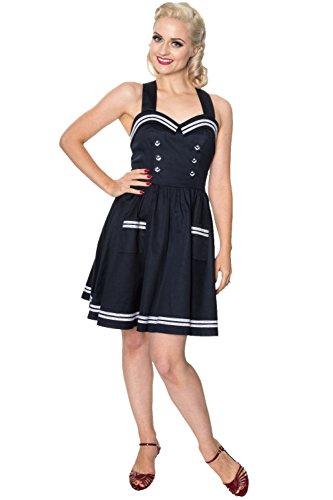 Banned Apparel - Vestido - plisado - para mujer azul marino