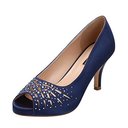 (ERIJUNOR E1941 Women Peep Toe Rhinestones Pumps Comfort Platform Low Heel Satin Wedding Bridal Evening Dress Shoes Navy Size)