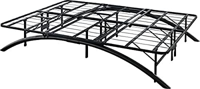 Flex Form Arched Platform Bed Frame / Metal Mattress Foundation, Black, California King