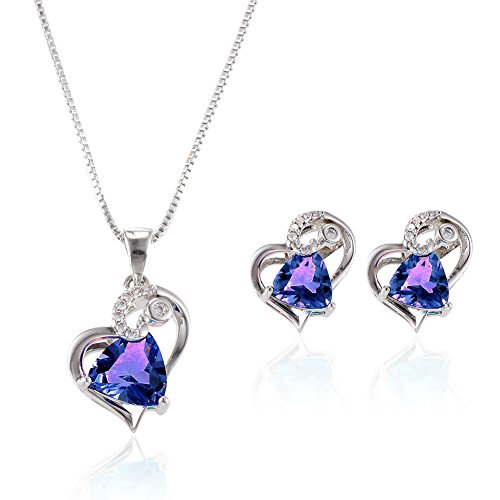 POKICH Purple Heart Jewelry Set Necklace&Earings CZ Crystal Embed in Hollow Engraved Grains for Women