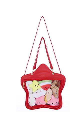 Wallet Pentagram (Clear Candy Leather Handbag Kawaii Purse Transparent Backpacks Star Crossbody Bags Lolita Ita Bag)
