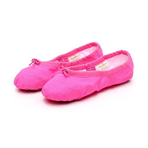 Baysa Femmes Toile Ballet Pantoufles Split Semelle Gymnastique Yoga Chaussures Rose