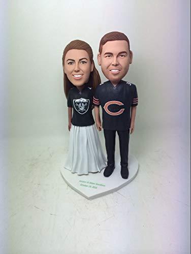 Oakland Raiders Chicago Bears Fan Personalized Wedding Cake Topper Custom Bobble Head Figurine Based on Customers' Photos Wedding Gift (Bobble Head Custom 2)