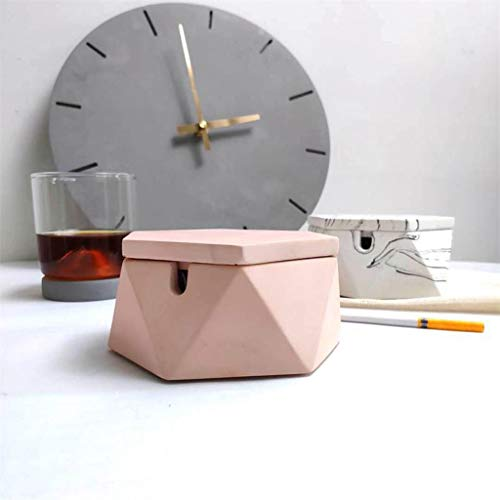 (Ashtray with Lid Smoking Square Creative Ashtray Ash European Modern Smoker Tray Home Decor Decoration Gift 12 4.5cm / Pink)