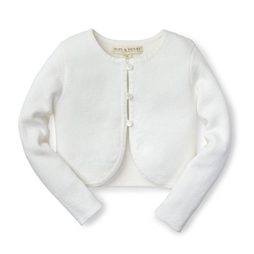 Hope & Henry Girls' White Cropped Cardigan