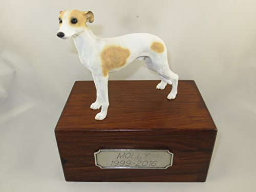 Beautiful Paulownia Small Wooden Urn with Tan & White Whippet Figurine & Personalized Pewter Engraving