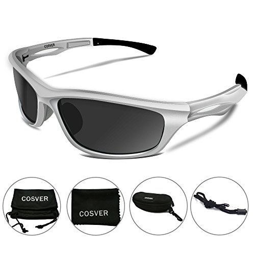 765c692d74 COSVER Polarized Sports Sunglasses for Men Women Cycling Running Driving  Fishing Golf Baseball Glasses TR088 (Silver