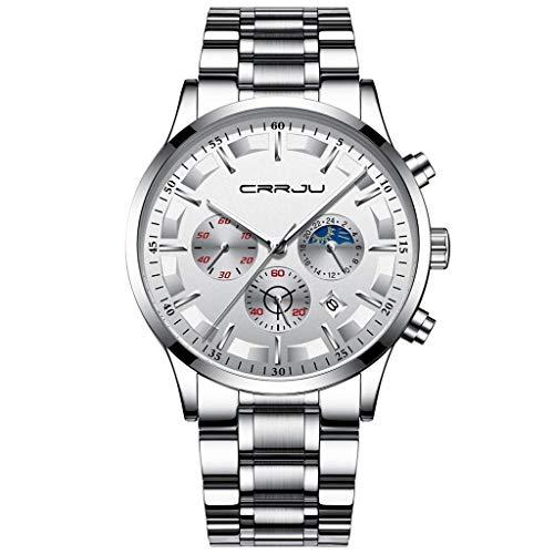 Luxury Mens Quartz Watch Sports Watch Fitness Tracke Watches Fashion Business Waterproof Wristband Analog Digital Smart Watch Six Pin Multi Function Chronograph Pedometer for Men Ladies