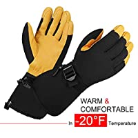 OZERO Winter Ski Gloves Mitten Cold Proof Windproof Work Glove Cowhide Leather Palm Water Resistant for Ski/Snowmobile/Shovel