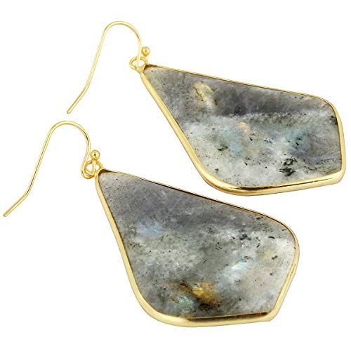 (TUMBEELLUWA Crystal Quartz Stone Dangle Hook Earrings Rhombus Shape Gold Plated,Labradorite)