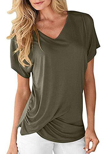 Uni Mode Cou Shirt lgant V T Battercake Manches Courtes Branch Manche Armeegr Femme Haut Tshirt Et Confortable Casual Shirts Dame Plier SqqI7z