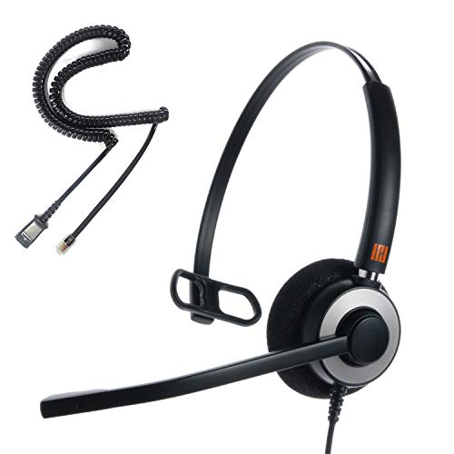IPD IPH-160 Professional Monaural Noise Cancelling Call Center/Office Headset with U10 Bottom Cable w RJ9 Jack Works with Most Cisco IP Phones, Interquartz and Other Phones