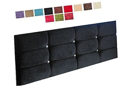 CUBED CHENILLE DIAMANTE HEADBOARD - 18 INCH HEIGHT - VARIOUS COLOURS - SINGLE DOUBLE KINGSIZE (3FT SINGLE, AUBERGINE CHENILLE) ETNA HEADBOARDS