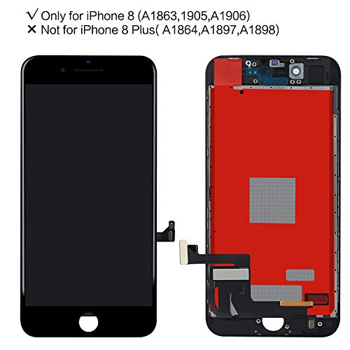 (Screen-Fix Screen Replacement for iPhone 8 Screen 3D Touch LCD Screen Digitizer Replacement Display Assembly Repair Kits Tools and Instruction (Black))