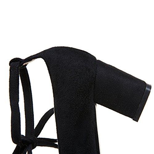 AIYOUMEI Damen Wildleder Chunky Heel Pumps mit Schnürung und 6cm Absatz Blockabsatz Bequem Schuhe Schwarz