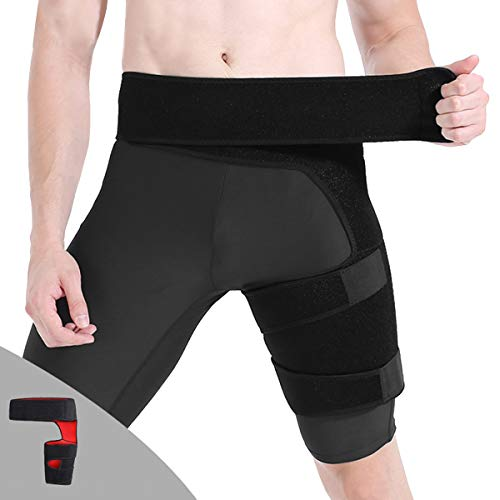 Jinxuny Groin Thigh Support Bandage Adjustable Compression Recovery Brace Wrap for Men Women Hip Groin Hamstring Thigh and Sciatic Nerve Pain Relief