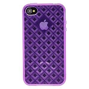 conseguir DEVIA color sólido del caso del patrón TPU suave del diamante 3D para el iPhone 4/4S (colores opcionales) , Púrpula