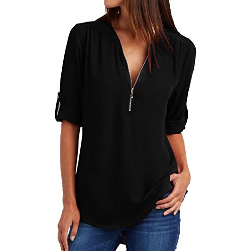 CUCUHAM Fashion Women Casual Tops T-Shirt Loose Top Long Sleeve Blouse (S, Black)