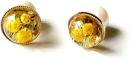 2WAY 本物のミモザを閉じ込めた一粒(スタッツ)ピアス ボタニカルアクセサリー 3月のお花 ハンドメイド