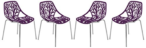 LeisureMod Forest Modern Dining Chair with Chromed Legs, Set of 4 (Purple) by LeisureMod