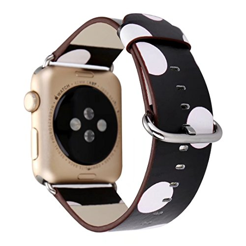 m, iWatch Leather Strap Lovely Polka Dots Pattern Wristband Bracelet with Metal Adapter for 38mm Apple Watch Series 3, Series 2 and Series 1 (38mm, Black with White) (Lovely Dot)