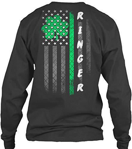 Ringer. XL - Dark Heather Long Sleeve Tshirt - Gildan 6.1oz Long Sleeve Tee