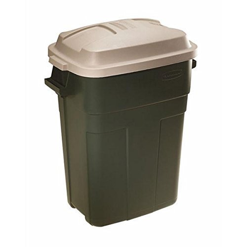 Roughneck Slim Fit Refuse Container, 30 Gallon, Rectangular Design, Durable Construction Withstands Intense Sunlight and Freezing Temperatures, 31.6 X 25 X 16.4, Evergreen. ()